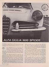 1963 Alfa Giulia 1600 Spider Road Test & Technical Data