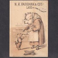 Utica NY Pig 1800's Fairbank Lard Crossed Corn Factory View Victorian Trade Card