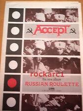 ACCEPT Russian Roulette Album 1986 UK Poster size Press ADVERT 16x12v