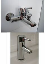 WALL MOUNTED BATH SHOWER MIXER & BASIN MONOBLOC 1/4 TURN SINGLE LEVER TAPS, 141