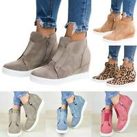 Women Chelsea Hidden Wedge Heel Zipper Platform Sneakers Ankle Boots Casual Shoe