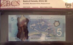 Canada BC-69bA 2013 $5 Replacement HBZ3731286 - BCS GemUnc-66