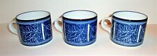 3 Dansk Bistro Etchings Coffee Cups Blue on White