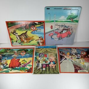 Vintage Frame Tray Puzzles Lot of 5 Disney Mickey Mouse Club Mumbly Looney Tunes