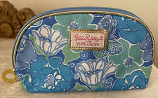 New Lilly Pulitzer Estee Lauder blue/green floral makeup bag w/gold zipper charm