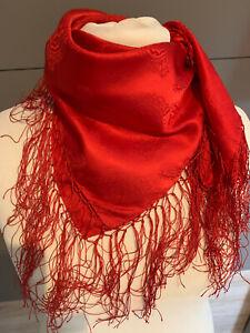 Seidentuch Trachtentuch Dirndltuch rot + Fransen Tuch reine Seide Dirndltuch