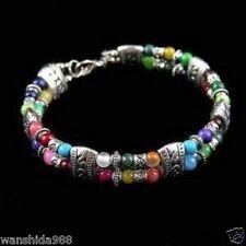 Hot Tibet silver multicolor jade turquoise bead bracelet