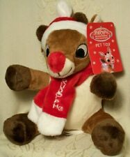 """Red-Nosed Reindeer RUDOLPH Exercise Fetch Squeaky Plush Dog Toy 8"""" Christmas"""
