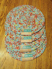 """THE PIONEER WOMAN PLACEMATS Vintage Floral Braided Set of 4 NEW 15"""" Round"""