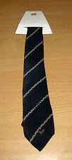 Vintage Gucci Italy 100% Silk Neck Tie Navy Blue Logo Stirrup Equestrian