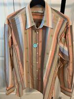 Mens Burma Bibas dark Peach Off-White Casual dress shirt. NWT Size Large (L)