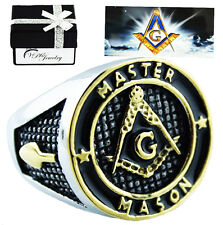 Stainless Steel Master Mason Gold Plated ring enamel sz 8-15