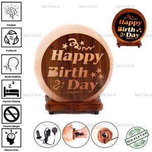 HBD SHAPE 3D WOOD PRINT NATURAL HIMALAYAN SALT LAMP DECOR GIFT PURIFY AIR UK