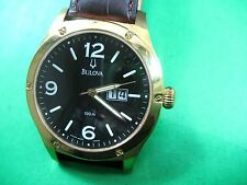 BULOVA 64B08 MEN'S CASUAL WATCH SWISS G/P CASE LEATHER STRAP DATE/ANALOG
