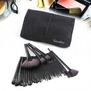 Kabuki Make up Brushes Powder Foundation Blender Brushes &Black Luxury Bag 32Pcs