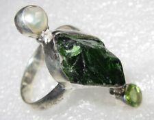 ECHTER TSAVORIT Rohstein Ring Gr18 925 Silber *33x12mm* Perle Peridot
