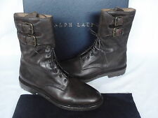 Mens Ralph Lauren Myall Dark Brown Leather Tall BOOTS UK 8 USA 9
