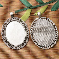 2pcs dark silver color floral rim oval shaped cabochon setting in 30x40mm EF3225