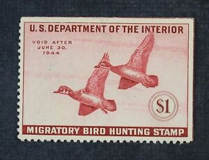 CKStamps: US Federal Duck Stamps Collection Scott#RW10 $1 Unused NG Spot Thin