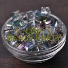 New 10pcs 10mm Cube Square Faceted Crystal Glass Loose Spacer Beads Rose Green
