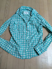 NWT AEROPOSTALE blue white plaid button down collared long sleeve shirt-S-$70