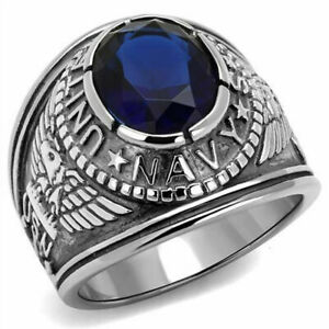 US Navy Ring 316L Stainless Steel Blue Sapphire CZ USN Size 8-13