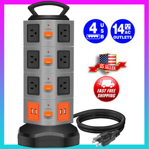 Power Strip Tower Surge Protector 14 outlet 4 USB ports Charging Station 6FT