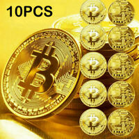 10Pcs Gold Bitcoin Commemorative Gold Plated Bit Coins New 2020 Collectors HOT