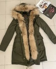 Woolrich Women khaki parka with natural fur, size S