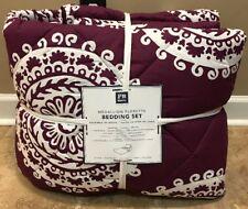NEW 5PC Pottery Barn Teen Medallion Florette XL TWIN Bedding Set DARK PURPLE