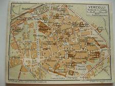stampa antica MAPPA PIANTA CARTA TOPOGRAFICA CARTOGRAFIA PIEMONTE VERCELLI 1914
