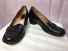 "Clarks Artisan 8 1/2M Women's Oxford Loafer Leather Brown Croc Embossed 2"" Heel"