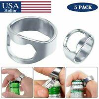 5 PACK Finger Thumb Ring Bottle Opener Beer Bar Tool Stainless Steel Portable US