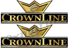 """CrownLine Boat Remastered Black&Gold Classic Decals 10""""X 3.5"""" each"""