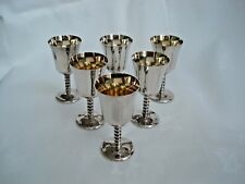 Set of 6 Silver Plated Shot Glasses Made in England