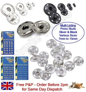 Silver Metal Press Studs Snap Fastener Button Large Small Clothing Sewing Craft