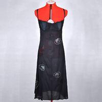 DOLCE & GABBANA Black Silk Slip Dress with Lace Ornament Elements Size L 46 12