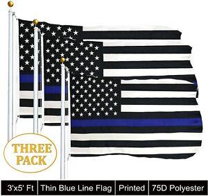 G128® 3x5 ft THIN BLUE LINE FLAG BLACK & WHITE USA FLAG Law Enforcement - 3 PACK