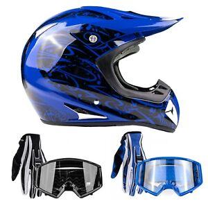 Adult Motocross Blue Helmet DOT Gloves Goggles Combo OffRoad DirtBike ATV