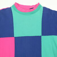 Vtg 90s Mock Neck Shirt Womens XL Faded Color Block Vaporwave Skate Grunge