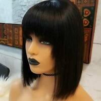 Short Thick Bob Straight Full Wig With Bang 100% Brazilian Remy Human Hair Wig J