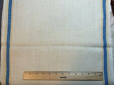Vintage Linen Kitchen Toweling Towel Fabric Blue & Yellow Stripes Exc