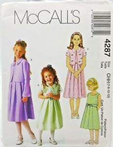 Girls Party Church Holiday Dress Sewing Pattern 4287 Size 7 8 10 12 McCalls