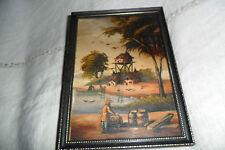 Un gran pequeño óleo sobre cobre enmarcado cuadro hombre y barriles Océano firmado van Dur