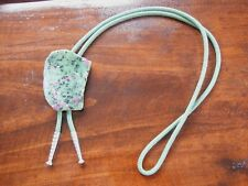 Stone Bolo Southwest Necklace Vintage Silver Tone Green Marble