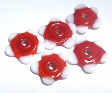 RED and WHITE FLOWER - Handmade Glass Lampwork Beads - Christmas Colors Tiny (5)