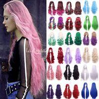 60-100cm Women Cosplay Wig Long Straight Wavy Anime Costume Full Wig Pink Purple