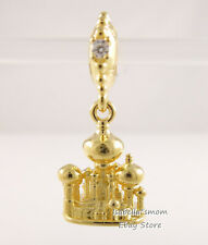Disney Aladdin AGRABAH CASTLE Genuine PANDORA Yellow GOLD Plated Charm 768040CZ