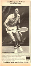 1970s vintage AD for AMF HEAD TENNIS RACKETS w/ ARTHUR ASHE on the court 091718