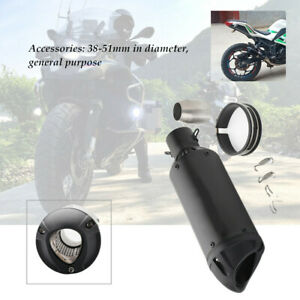 38-51mm Motorcycle Racing Adjustable Slip-on Black Exhaust Tail Pipe Muffler